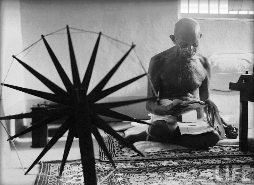 Gandhi at his Spinning Wheel-1946