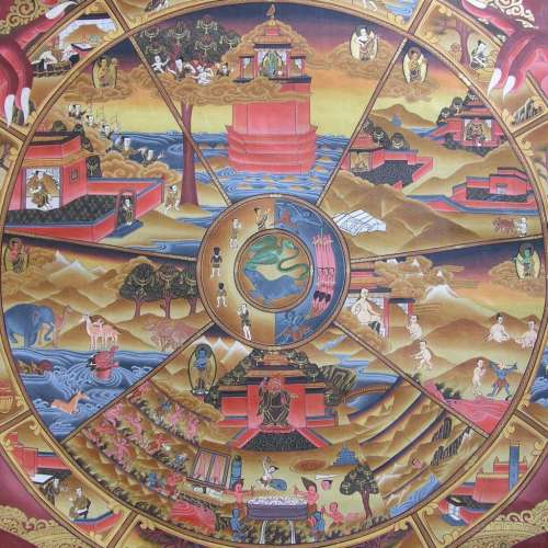 In this thangka, Hungry Ghosts are depicted on the bottom right side in the six realms and the cycle of samsara.